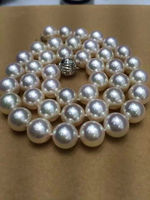 Hot selling free shipping********1711 12 mm natural south sea white pearl necklace ok 585 white gold clasp