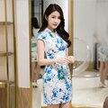CQ869 Старинные Цветок Печати Старинные Китайский Dress С Коротким Рукавом Тело Летом Dress Для Женщин 2017 Повязку Dress Крест Шеи Vestidos