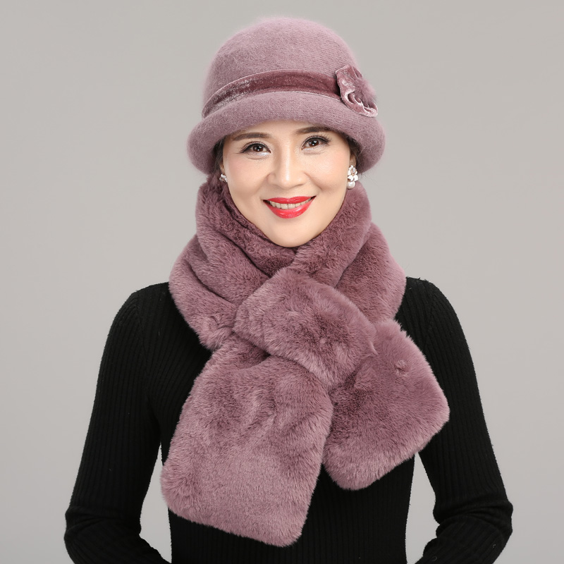 Women Winter Knitted Wool Basin Hat Female Thickened Warm Fisherman Cap Lady Velvet Elegant Scarf For Middle-aged Mother H7158