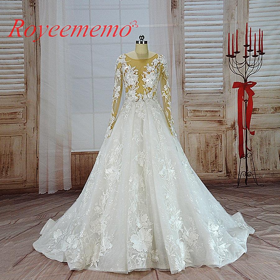 Vestido de noiva hot sale nudez tulle top transparente sexy rendas de Luxo Vestido De Noiva manga longa vestido de noiva preço de atacado