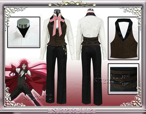 Image 5 - Anime Black Butler Death Shinigami Grell Sutcliff Cosplay Red Uniform Outfit+Glasses Carnaval Halloween Costumes for Women Men