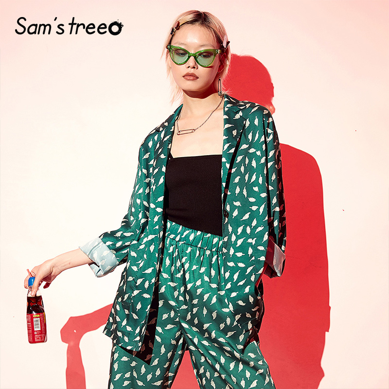Samstree Women Office Coats 2019 Original Design Elegant Ladies Print Summer Formal Coat Plus Size Thin