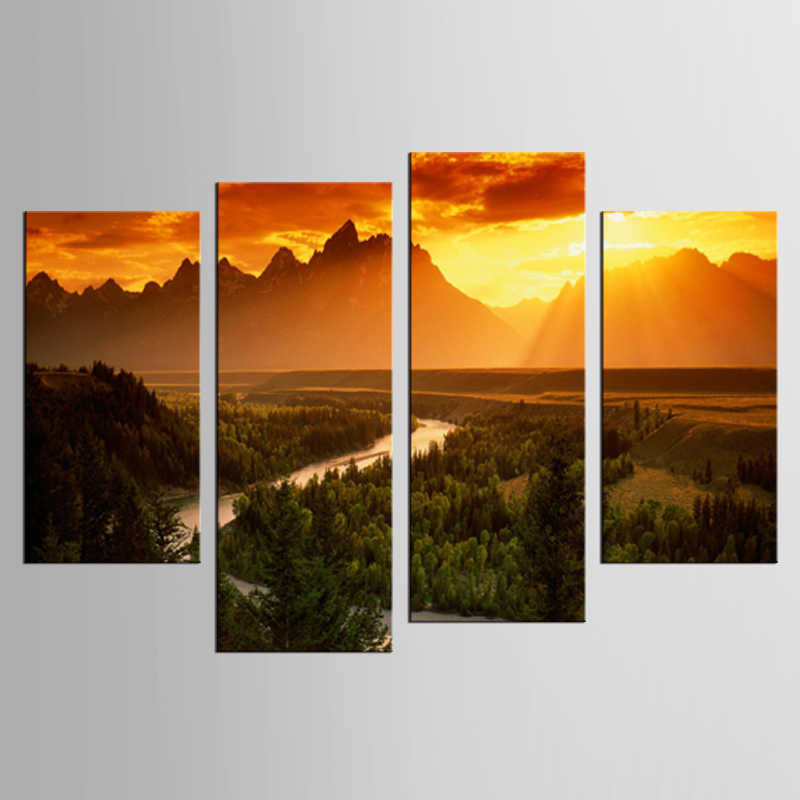 4 pieces / set sunset dusk hills landscape mural art wall decoration home decoration painting XL-FJ31-1