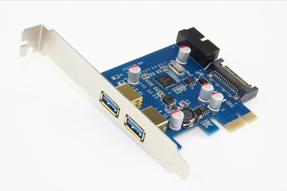 2 portas usb 3.0 pci-e Pci express Card adapter Adaptador de Expansao adicionar Em Cartoes + 20 pinos SATA power supply com chip