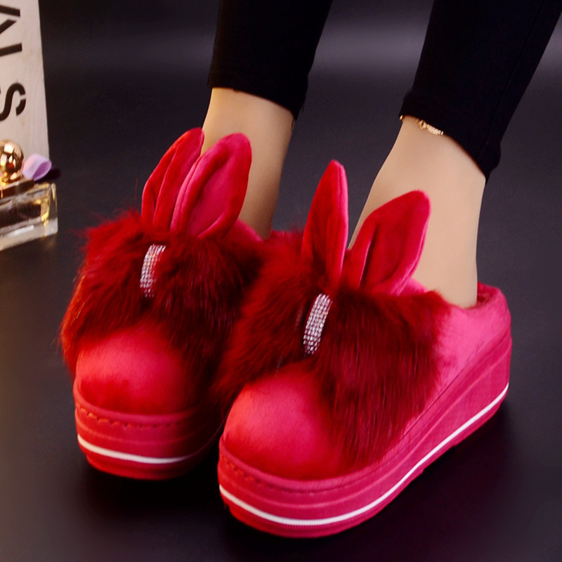 2019 New Cotton Ladies Cartoon Rabbit Ears Fluff Slippers Cartoon Cute Bow Thick Bottom Warm Cotton Big Size Winter Slippers