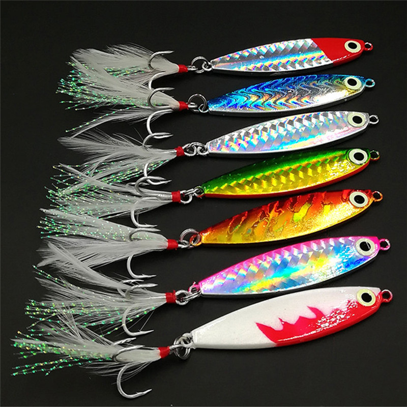 1pcs 15g 20g Fishing Spoon Lure 7 colors iscas artificiais Metal Jig Lure Slice Jigbait spoon Treble Hook jigging lure