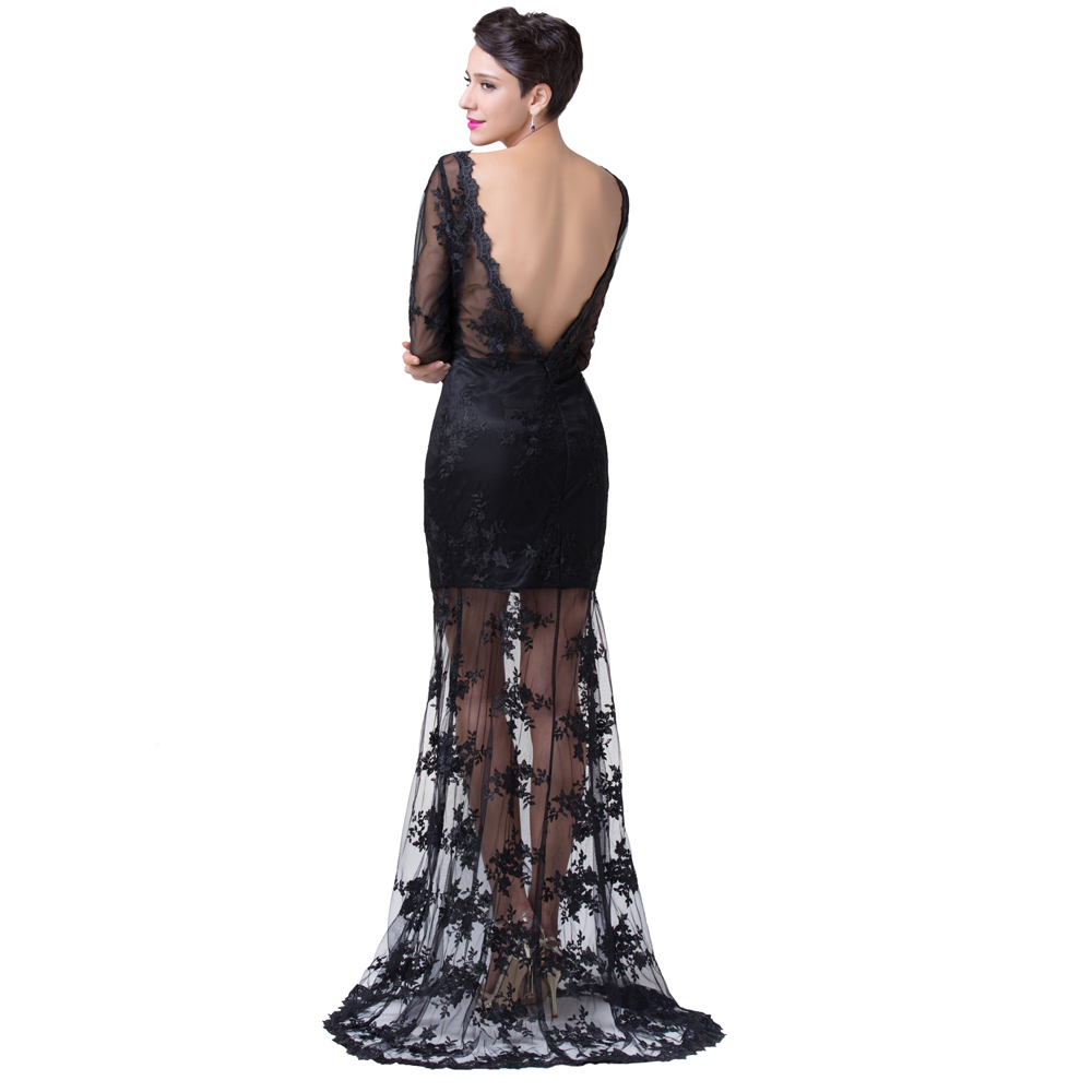 Aliexpress.com : Buy Sexy See Through Long Sleeve Black Lace Prom ...