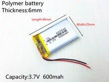3.7V 600mAh Rechargeable li Polymer Li-ion Battery For DVR RECORD MP3 MP4 TOY GPS SMART WATCH SPORT CAMERA DVR 602540 062540