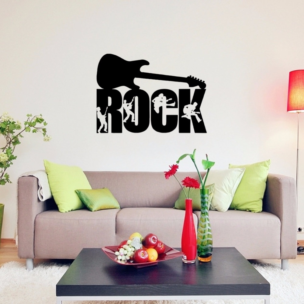 room deco furniture. Wall Stickers Guitar Rock Music Art Deco Bar Decoration Living Room Bedroom Background Sticker Furniture R