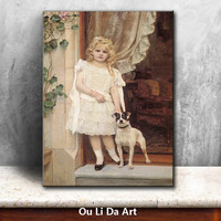 classical-figures-cute-girl-angels-dog-oil-paintings-canvas-printing-printed-on-canvas-kid-room-wall-art-decoration-picture