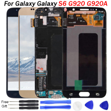 Original AMOLED For SAMSUNG Galaxy S6 LCD Screen with Frame G920 Digitizer For SAMSUNG S6 Display Screen G920F G920T G920A G920 цена 2017