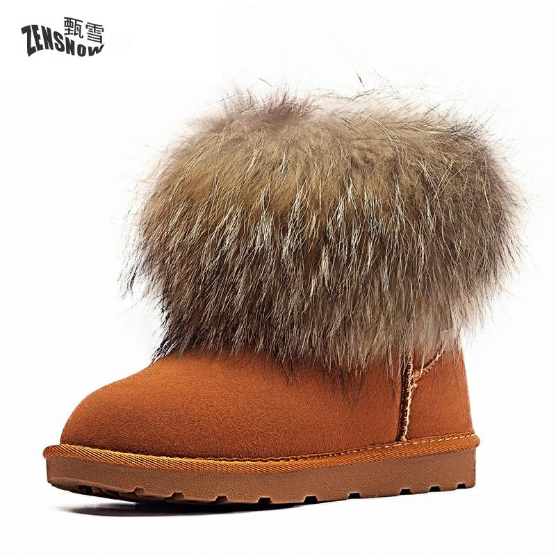 2017 Super Warm Brand Women Winter Shoes Fashion Long Plush ug australia women boots Ankle Genuine Leather Snow Warm Boots bota 2017 sales of the most popular hot winter boots women ug australia boots women slip warm women s boots in the snow size 34 44