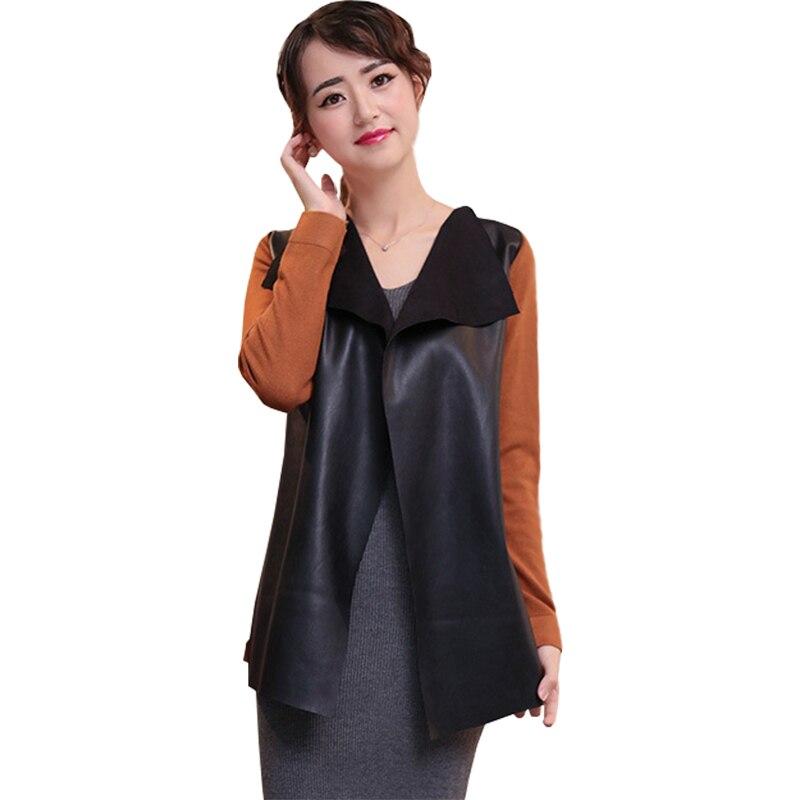 Coat Sweater Cardigan Clothing Jacket Jumper Autumn Women PU Big MMY466 Splicing Lapel-Collar