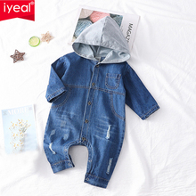 IYEAL Spring Autumn Toddler Baby Boys Girls Hooded Long Sleeve Soft Denim Romper Jumpsuit Outfit Kids Infant Clothes for 1-3T