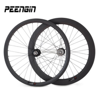 Clincher Carbon Fixed Gear Wheels hot selling 25mm U 38mm+60mm front rear 700C track Wheelset single speed 20/24,32/32,24/28 H