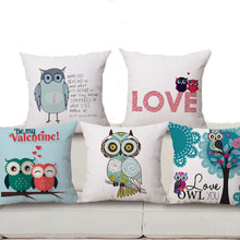 """Square 18"""" Owl Linen Pillow Covers Pattern Decorative Love Pillow Covers Home Pillow Dec oration Colored Pillow Cases"""
