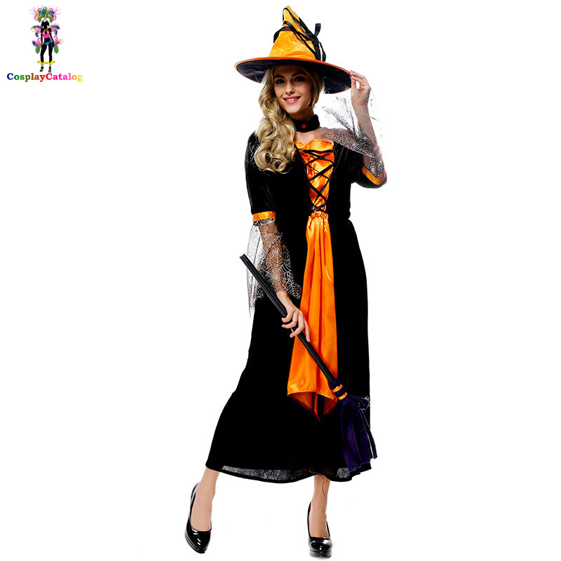 Black & Yellow Adult Halloween Party Masquerade Wicked Witch Costume For Women,Female Sexy Spellbound Witch/Evil Queen Costumes