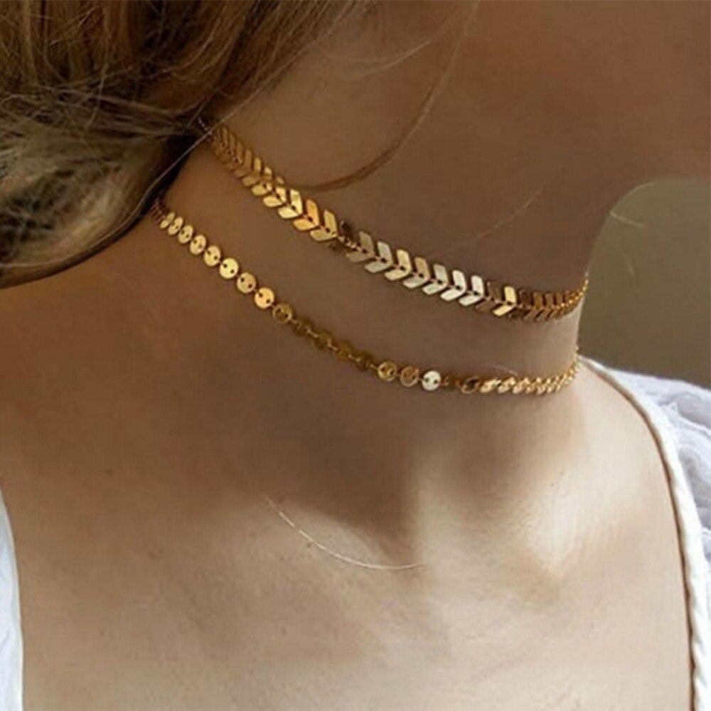 Bohemian sequins fish bone necklace simple double layer for Fish bone necklace