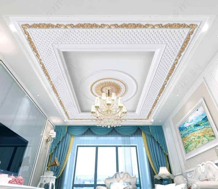 ceiling wallpaper rolls for wall 3d Golden plaster carving for living room bedroom wall papers home decor ceiling wallpapers