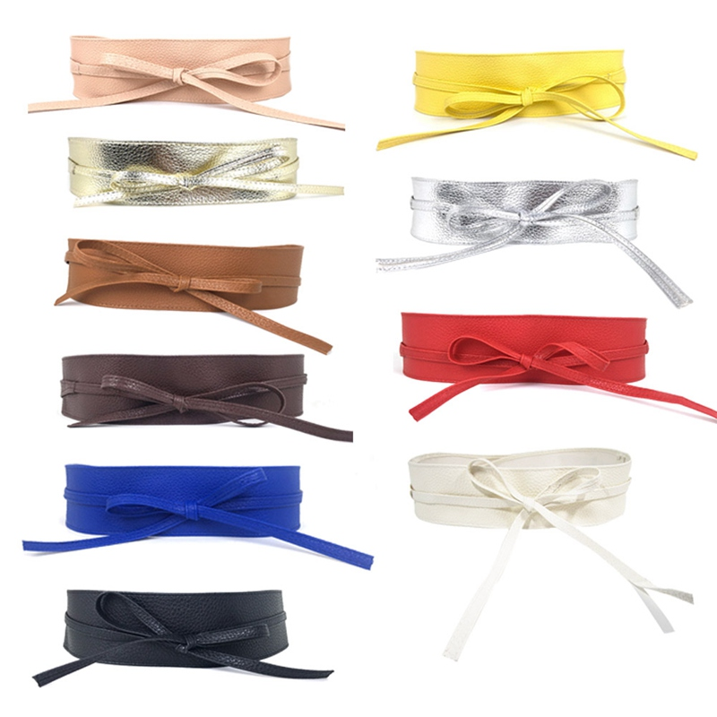 Cummerbunds Strap Belts For Women High Waist Lace Up Pu Leather Designer Wide Slimming Girdle Belt Ties Bow Bands