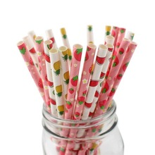 25pcs Disposable Fruit Paper Straws pineapple strawberry Drinking for birthday wedding Summer Theme party supplies