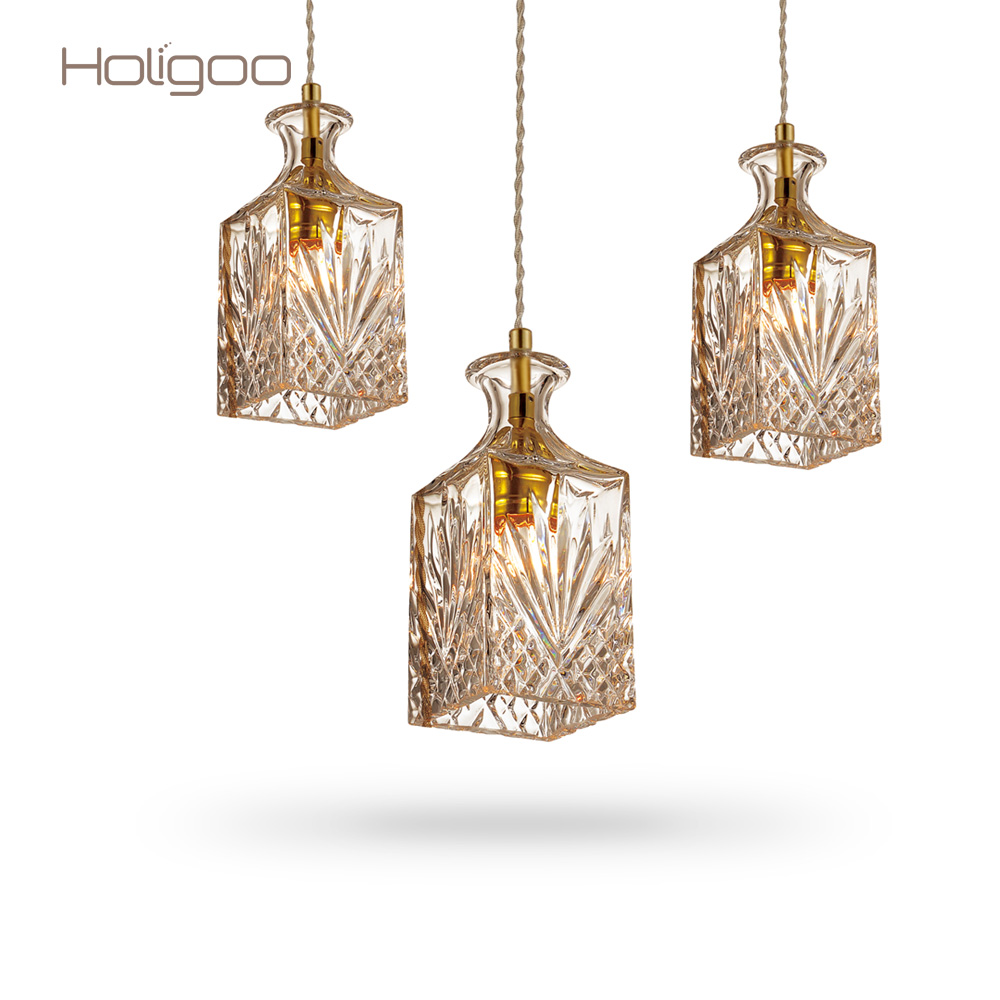 Holigoo Modern Glass Pendant Lamp Nordic Dining Room Wine Bottle Pendant Light Kitchen Lighting Fixture Restaurant Hanging Lamp free shipping modern glass pendant lamp 3 lights creative dining room experimental bottle hanging light fixture pl057