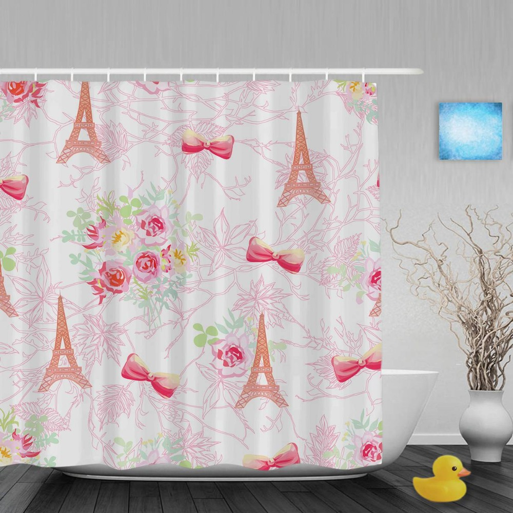 Fabric paris shower curtain - Paris Eiffel Towers Bathroom Curtains Vintage Pink French Bouquets Decor Shower Curtain Waterproof Polyester Fabric With Hooks