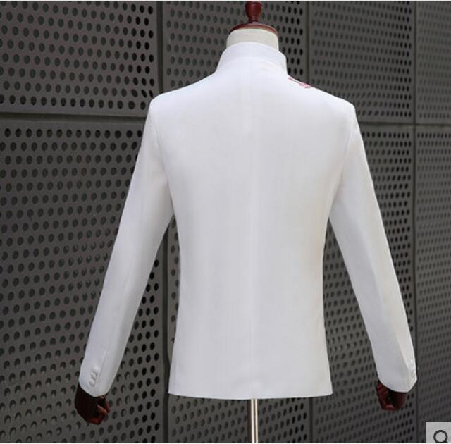 Chinese Tunic Suit White Outfit Set Plus Size Blue Or Red Flower Embroidered Jacket Pants Host Outfit Men Singer Show Stage Wear