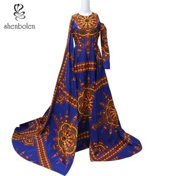 African Dresses For Women fashion dashiki dresses  Wax print traditional dress Sleeve Dress Exaggerated dress wedding dresses