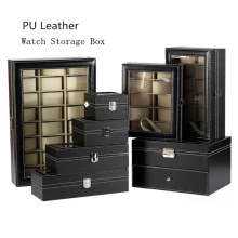 Wholesale PU Leather Watch Box Black Watch Storage Box With