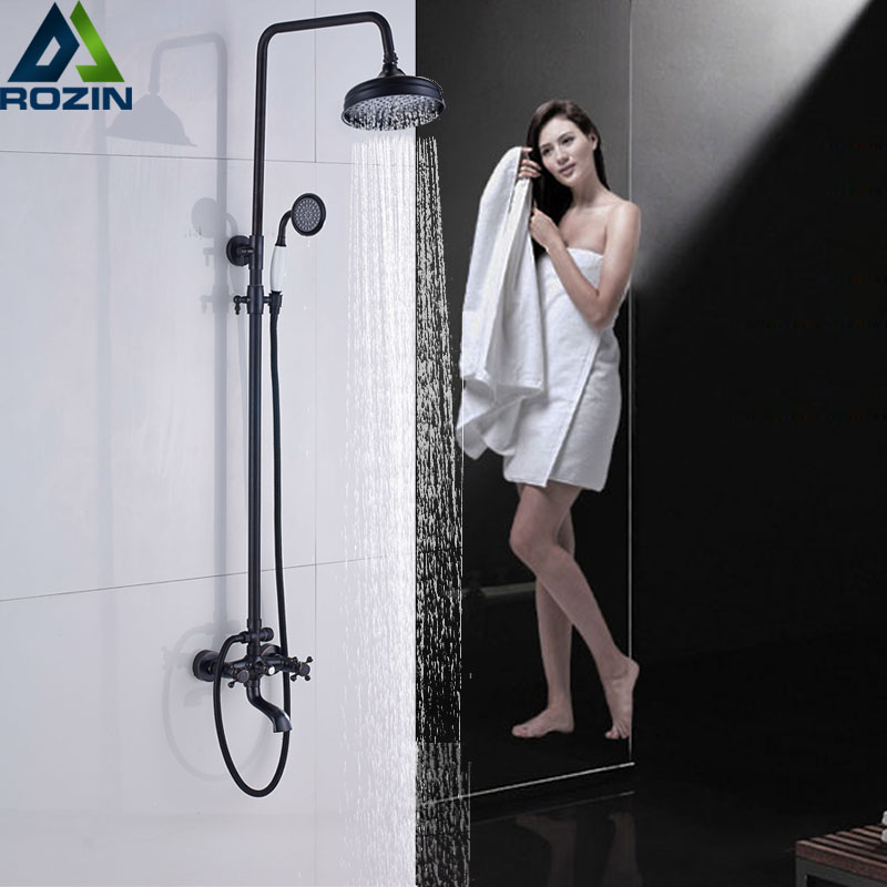 Bathroom 8 Rainfall Shower Faucet Set Black Bronze Dual Handle Bath Shower Mixer Taps Wall Mounted