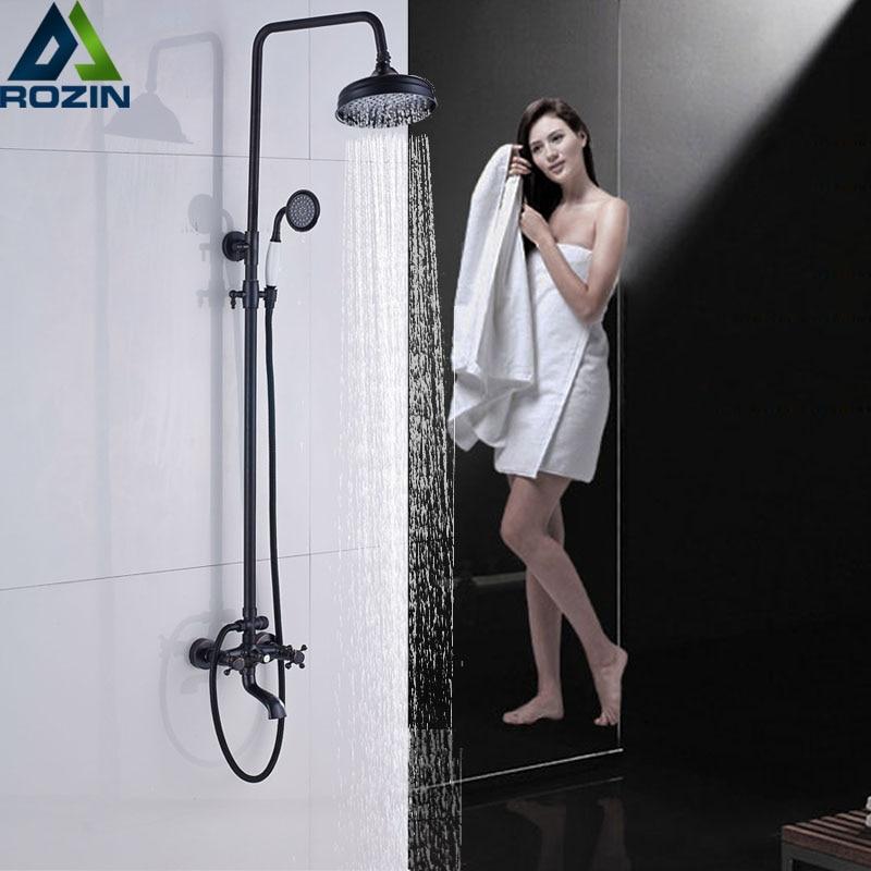 Bathroom 8 Rainfall Shower Faucet Set Black Bronze Dual Handle Bath Shower Mixer Taps Wall Mounted with Handshower black bathroom 8 rainfall shower faucet set double handle brass bath shower mixer taps wall mounted with handshower brs705