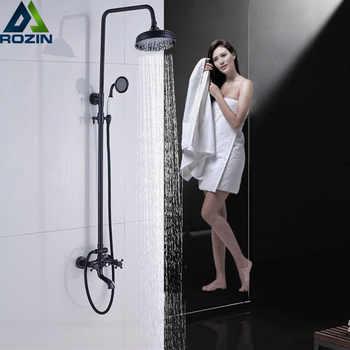 "Bathroom 8\"" Rainfall Shower Faucet Set Black Bronze Dual Handle Bath Shower Mixer Taps Wall Mounted with Handshower - DISCOUNT ITEM  45 OFF Home Improvement"