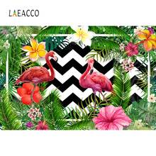 Tropical Palm Tree Leaves Flamingos Birthday Party Chevrons Stripe Baby Photo Backdrops Photographic Backgrounds Photo Studio flamingos
