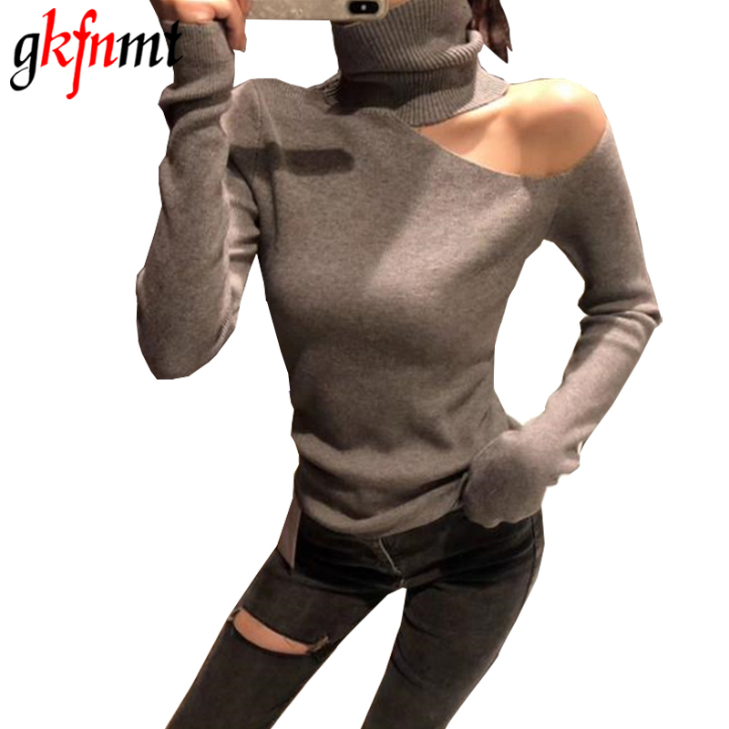 Knitted Sweater Off Shoulder Pullovers Sweater for Women Long Sleeve Turtleneck Female Jumper Black White Gray Sexy Clothing(China)