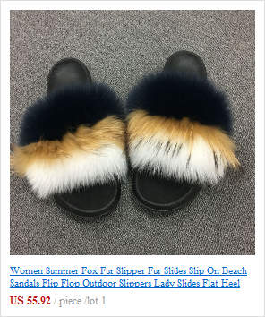 Pantoufles la de sandales de sur plage femme fourrure en d'été plage renard pour awPqr8na