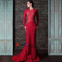 5b20acb6a9b88 Cheap Red Mermaid Evening Gown Formal Dresses Abendkleider Sexy Backless Long  Sleeve Evening Dress 2019 Robe de soiree avondjurk