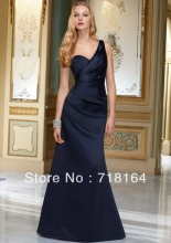 2017 brand new satin dark blue satin floor length one shoulder modest bridesmaid dress under 100 women custom made free shipping