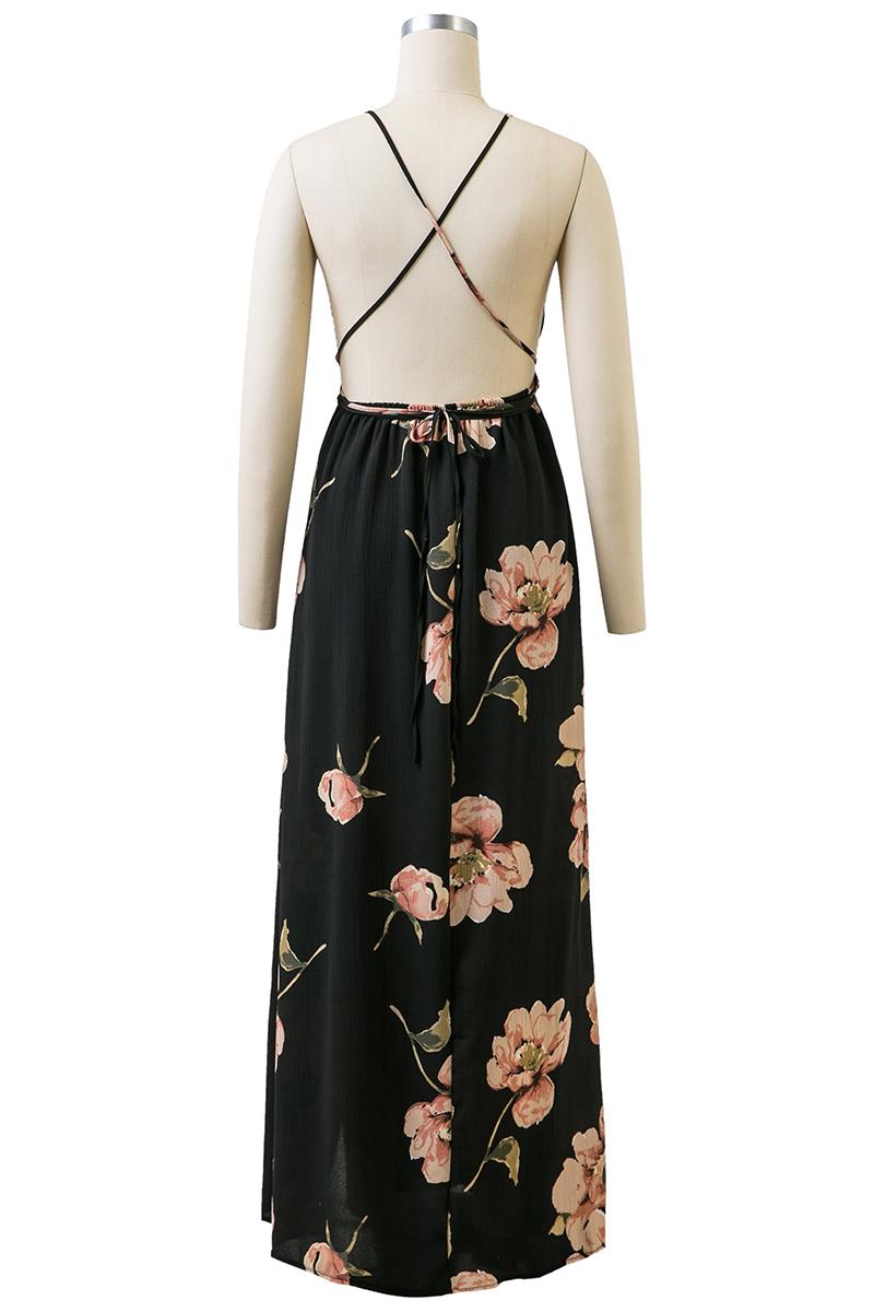 BONGOR LUSS Summer Maxi Dress Women Floral Print Dress V-Neck Sleeveless Spaghetti Strap Backless Side Split Sexy Long Dress (13)