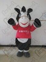 Brown body white belly donkey cartoon mascot costume