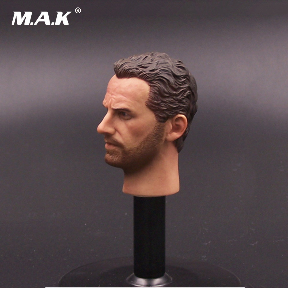 The Walking Dead 1/6 Scale Man Head Carving Sheriff Rick Head Sculpt with Neck for 12 inches Male Action Figure Body Accessory 1 6 scale male clothes suit the game of death bruce lee head sculpt