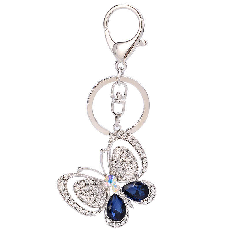 afdf5c5be6b New Lovely Crystal Butterfly Keychains Creative Key Chain Car Keyrings  Women Girls Bag Pendant Charm Fashion Jewelry