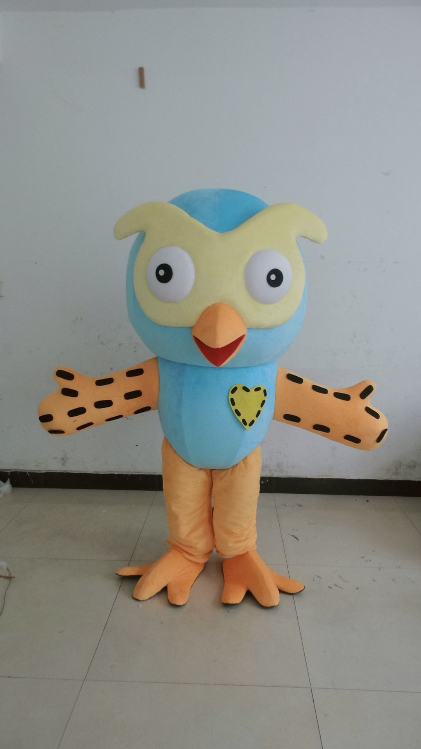 Professional New Style Big Blue Owl Mascot Costume Fancy Dress Adult Size for Halloween party event