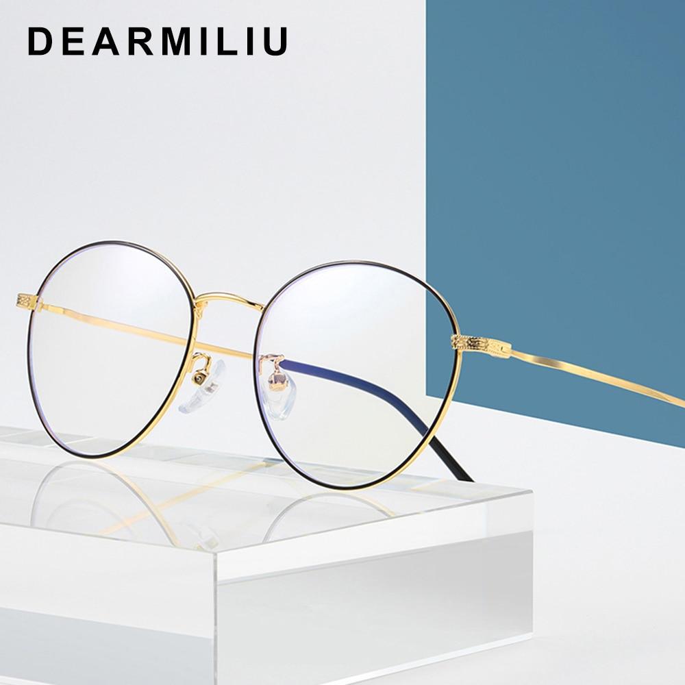 Dearmiliu Oval Rose Gold Frame Blue Light Blocking Glasses Led Computer Reading Radiation-resistant Glasses Gaming Eyewear
