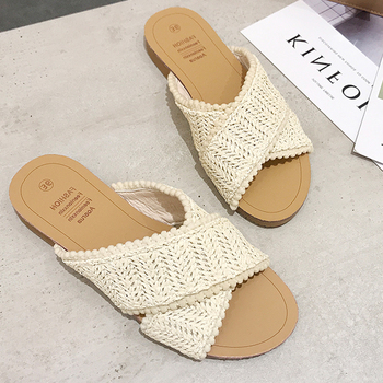 2019 Weave Slippers Women Summer Shoes Woman Casual Ladies Flat Home Indoor Slippers Slides Women flip flops pantufa tong femme 1