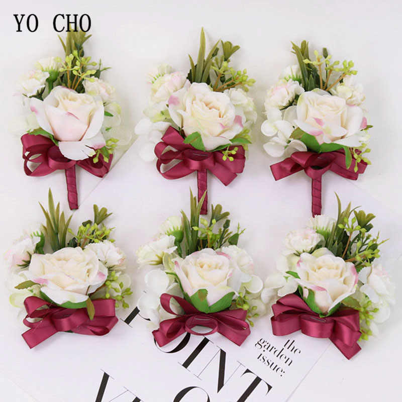 YO CHO Retro White Wrist Flowers Corsages Suit Rustic Style Wedding Bridesmaids Decoration Accessories Artificial Flowers Brooch