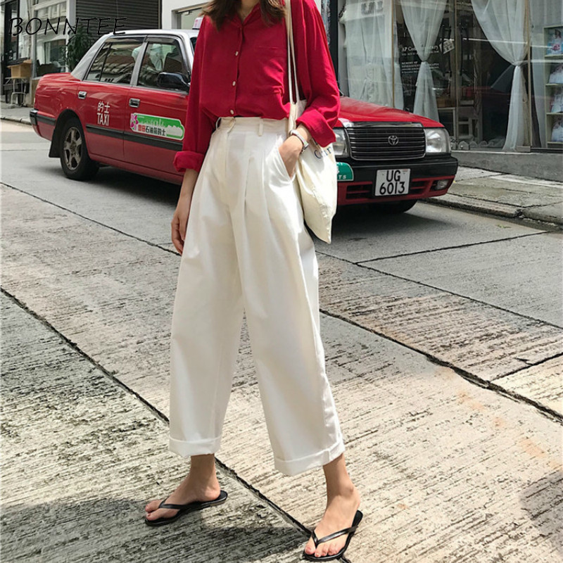 Pants Women High-waist Straight Casual Trousers 2019 New Women's Korean Loose Daily Elegant Simple All-match Solid Long Pockets