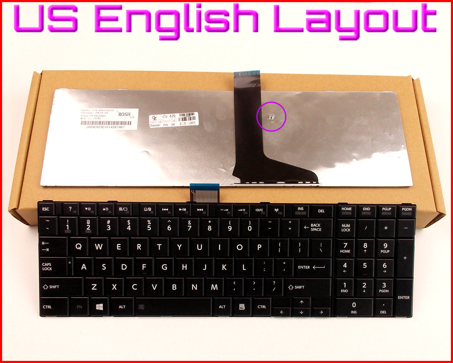 New Keyboard US English Version for Toshiba Satellite C855 C855D S850 S855 S870 S850D S855D S870D S875D L850 C850 L875D Laptop image