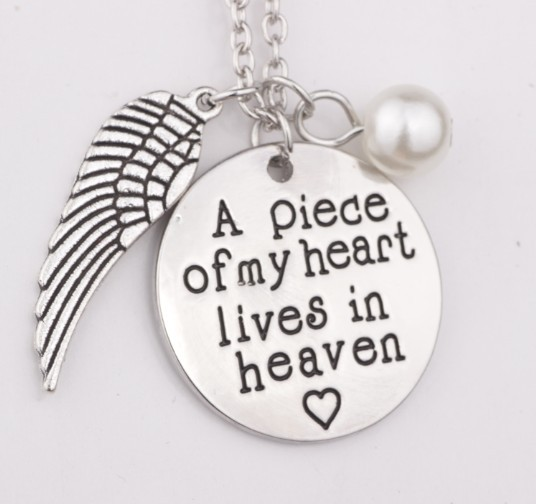 d9e4da351c8e5 A piece of my heart lives in heaven Hand Stamped Remembrance Miscarriage  Memorial Pendant Necklace Gift Jewelry for women-in Pendant Necklaces from  ...