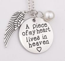 A piece of my heart lives in heaven Hand Stamped Remembrance Miscarriage Memorial จี้สร้อยคอของขวัญเครื่องประดับสำหรับผู้หญิ(China)